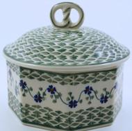 Polish Pottery Stoneware Pretzel Box - Rhine Valley