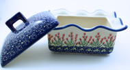Polish Pottery Rectangular Covered Baker - Spring