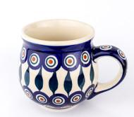 Polish Pottery Stoneware Bubble Mug Peacock