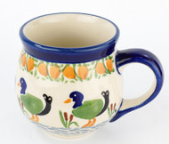 Polish Pottery Stoneware Bubble Mug Ducks in a Row