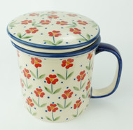 Polish Pottery Tea Mug & Infuser Simple Elegance