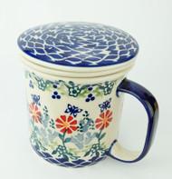 Polish Pottery Tea Mug & Infuser Butterfly Delight