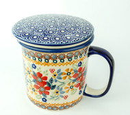 Polish Pottery Tea Mug & Infuser Grandma's Garden