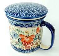 Polish Pottery Tea Mug & Infuser Audrey