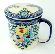 Polish Pottery Tea Mug & Infuser Primary Colors