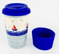 Polish Pottery Travel Mug-Sail Away