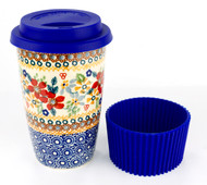 Polish Pottery Travel Mug Grandma's Garden