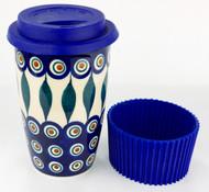 Polish Pottery Travel Mug Peacock