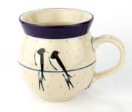 Polish Pottery UNIKAT 12 oz Bubble Mug Swallows