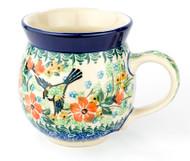 Polish Pottery UNIKAT 12 oz Bubble Mug Green Bird