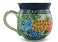 Polish Pottery UNIKAT 12 oz Bubble Mug Flower & Butterfly