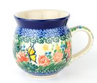 Polish Pottery UNIKAT 12 oz Bubble Mug Spring Butterfly