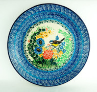 "Polish Pottery Stoneware 10.5"" Dinner Plate Yellow Bird"