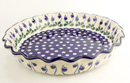 "Polish Pottery 10"" Fluted Pie Dish Sweetheart"