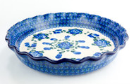 "Polish Pottery 10"" Fluted Pie Dish Poppy in Blue"