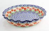 """Polish Pottery 10"""" Fluted Pie Dish Red Wildflowers"""