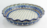 "Polish Pottery 10"" Fluted Pie Dish Primrose"