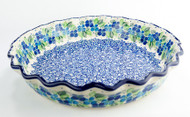 "Polish Pottery 10"" Fluted Pie Dish Phlox"