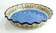 """Polish Pottery 10"""" Fluted Pie Dish Touch of Mint"""
