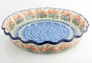 "Polish Pottery 10"" Fluted Pie Dish Spring Tulip"