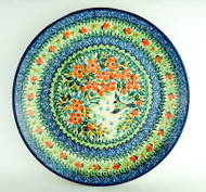 "Polish Pottery Stoneware 10"" Dinner Plate Green Bird"
