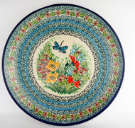 """Polish Pottery Stoneware 10"""" Dinner Plate Stained Glass Dragonfly"""