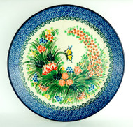 """Polish Pottery Stoneware 10"""" Dinner Plate Spring Butterfly"""