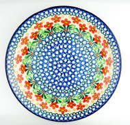 """Polish Pottery Stoneware 10"""" Dinner Plate Red Wildflowers"""