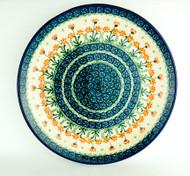 "Polish Pottery Stoneware 10"" Dinner Plate Peach"