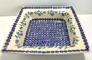 Polish Pottery Stoneware Square Bowl Lilly