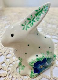 "3"" Bunny Figurine Blue Pansy"