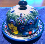Polish Pottery Round Butter Dish Painted Flowers