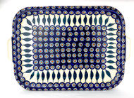 Polish Pottery Stoneware Tray/ Baking Sheet Peacock