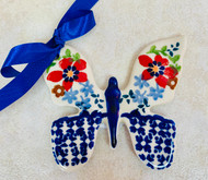 Polish Pottery Butterfly Ornament Summer Bouquet