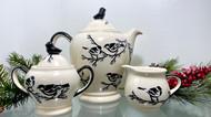 3 Piece Coffee Pot Set with Bird Topper Chickadee