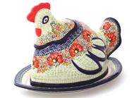"Polish Pottery Artistic UNIKAT Covered Hen 14"" Tray"