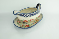 Polish Pottery Gravy Boat & Saucer English Rose