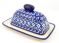 Polish Pottery Butter Dish Blue Diamond