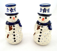 Polish Pottery Snowman Candle Flowering Peacock