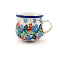 Polish Pottery Espresso Mug Blue Morning Glory