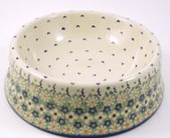 Polish Pottery Large Dog Bowl -Daisy