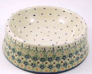 Polish Pottery Large Dog Bowl -Daisy