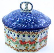 Polish Pottery Pretzel Box - Cone Flower