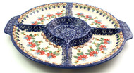 Polish Pottery Divided Serving Platter - Cone Flower