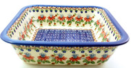 Polish Pottery Square Baker - Cone Flower