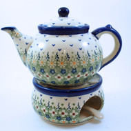 Polish Pottery Large Stoneware Teapot with Warmer - Daisy