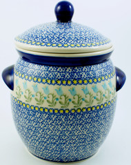 Polish Pottery Jar w/ Handles-- Blue Tulip