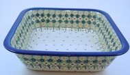 Polish Pottery Deep Square Baker Daisy