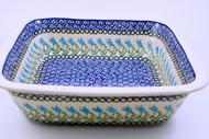 Polish Pottery Stoneware Square Baker - Blue Tulip