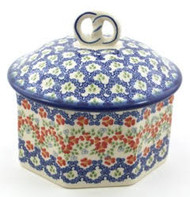 Polish Pottery Baker Dish with Pretzel Handle - Impatiens
